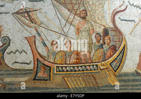 A mosaic of Ulysses strapped to the mast during the encounter with the sirens, in the Bardo Museum of Tunis - Stock Photo