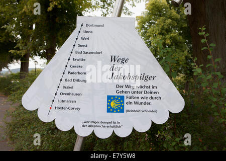 The Way of St. James, Abbey Castle Corvey in Hoexter, Weserbergland, North Rhine Westphalia, Germany, Europe, - Stock Photo