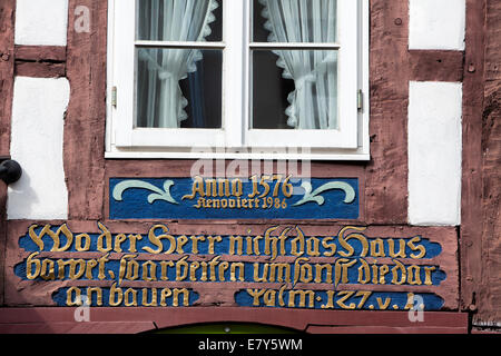 Half-timbered house, Weser Renaissance style, Hoexter, Weser Uplands, North Rhine-Westphalia, Germany, Europe, - Stock Photo
