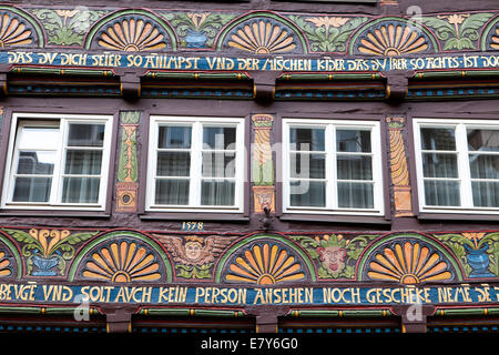 Half-timbered house, Weser Renaissance style, Hoexter, Weser Uplands, North Rhine-Westphalia, Germany, Europe, - Stock Photo