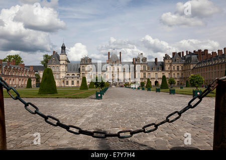 Entrance to palace Fontainebleau, France - Stock Photo