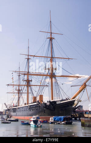 Portsmouth Harbour, UK 03 April 2013: HMS Warrior, Britain's first ironclad armoured frigate warship - Stock Photo