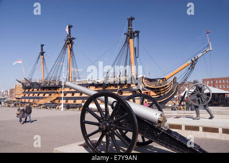 Portsmouth UK 02 April 2013: HMS Victory and cannon, Portsmouth Historic Dockyard - Stock Photo
