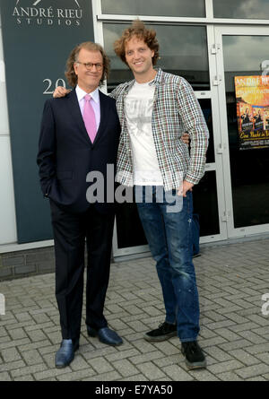 Maastricht, The Netherlands. 25th Sep, 2014. Andre Rieu and his son Pierre pose in front of his studio in Maastricht, - Stock Photo