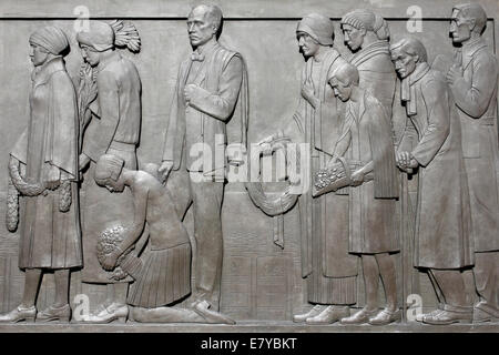 Detail On The Panel Of The Cenotaph War Memorial In Liverpool Depicting Mourners - Stock Photo