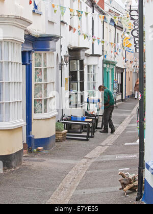 Houses in a typical road in the village of Appledore in North Devon UK which plays host to an acclaimed annual literary - Stock Photo