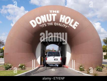 Drive thru Donut Hole in La Puente California - Stock Photo