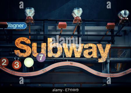 NEW YORK CITY, NY - MAR 30: Subway station entrance on March 30, 2014 in New York City. With 468 stations, NYC Subway - Stock Photo