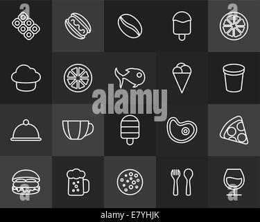 Outline icons thin flat design, modern line stroke style, web and mobile design element, objects and vector illustration - Stock Photo