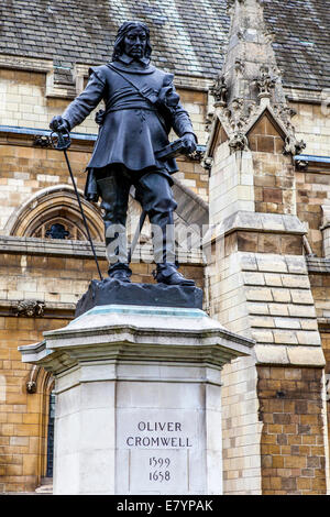 London statue of Oliver Cromwell on St.Margaret ST - Stock Photo