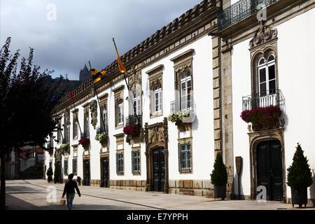 Facade of Casa de Carreira mansion , Santa Luzia basilica in background , Viana do Castelo , northern Portugal - Stock Photo