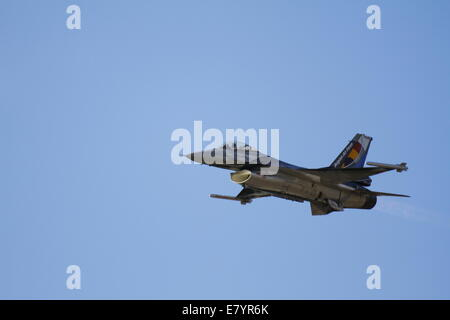 A F-16AM from the Belgian Air Force performs at the 2014 Tatoi Airshow. The Tatoi Air Show, the main public event - Stock Photo