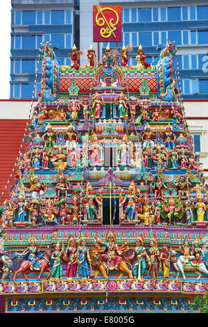 Sri Veeramakaliamman Hindu Temple in Singapore, Republic of Singapore - Stock Photo