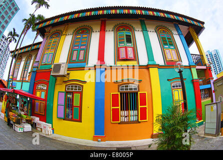 Traditional rainbow coloured house with colourful windows and shutters in Little India in Singapore, Republic of - Stock Photo