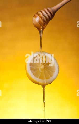 Honey flowing on lemon slice, studio shot over yellow background - Stock Photo