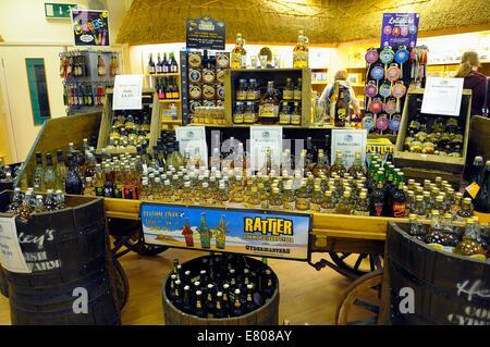 Cornish Scrumpy on sale in a souvenir shop Lands End Cornwall England uk - Stock Photo