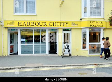 The Harbour chippy Newquay Cornwall England uk - Stock Photo