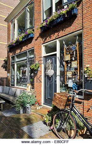 A cat sits on a sunny window ledge, a bicycle awaits its rider outside a small antique store in Enkhuizen, The Netherlands. - Stock Photo