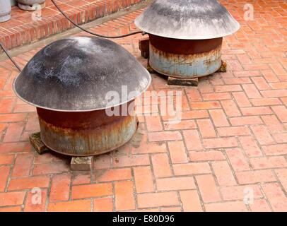 Pots on the stove for cooking in Taiwan - Stock Photo
