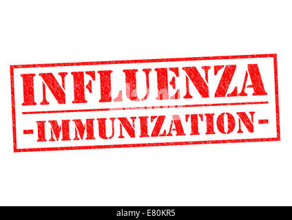 INFLUENZA IMMUNIZATION red Rubber Stamp over a white background. - Stock Photo