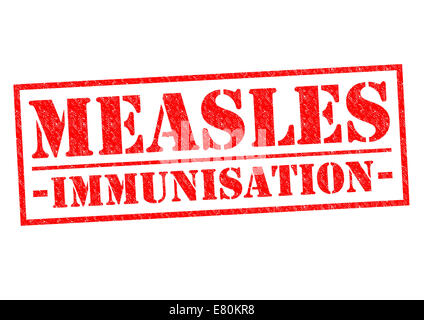 MEASLES IMMUNISATION red Rubber Stamp over a white background. - Stock Photo