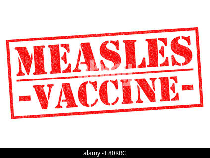 MEASLES VACCINE red Rubber Stamp over a white background. - Stock Photo