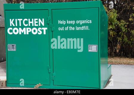 Kitchen compost collection bins in Jasper, Alberta Canada. - Stock Photo