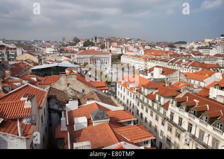 View over Lisbon, the capital and the largest city of Portugal. Rossio square in the middle. - Stock Photo
