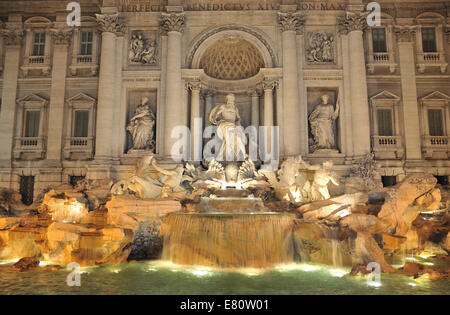 Trevi Fountain in Rome - Italy. (Fontana di Trevi) is one of the most famous landmark in Rome. - Stock Photo