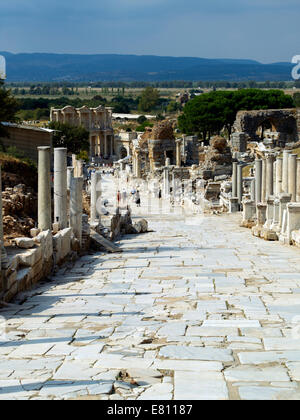 Curetes Street viewed from The Hercules Gate at Ephesus on the South Aegean coast of Turkey - Stock Photo