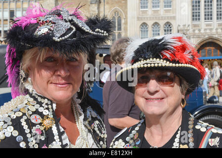 Guildhall Yard, London, UK. 28th September 2014. Two Pearly Queens at the annual  London Pearly Kings & Queens Society - Stock Photo