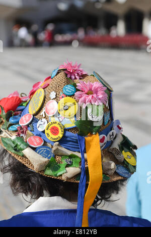 Guildhall Yard, London, UK. 28th September 2014.  Morris Dancers  at the annual  London Pearly Kings & Queens Society - Stock Photo