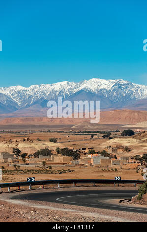 Vertical view of a hairpin bend on the N9 highway through the Mid and High Atlas Mountain range in Morocco. - Stock Photo