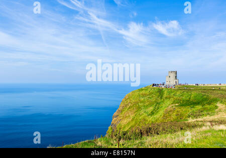 Cliffs of Moher looking towards O'Brien's Tower, The Burren, County Clare, Republic of Ireland - Stock Photo