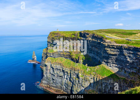 View of the Cliffs of Moher looking towards O'Brien's Tower, The Burren, County Clare, Republic of Ireland - Stock Photo