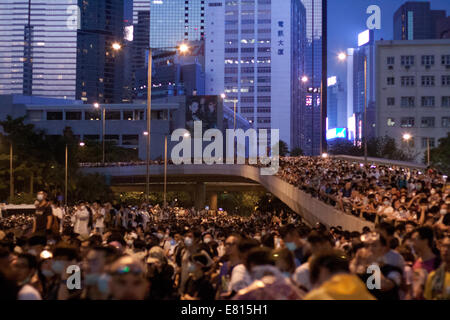 Hong Kong. 28th Sep, 2014. Crowds of people at the Occupy Central protests, Hong Kong, China.   Protests against - Stock Photo