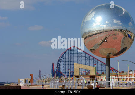 The mirror-ball on the new South Promenade at Southshore in Blackpool - Stock Photo