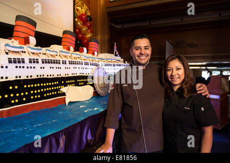 Long Beach, USA. Sept 26, 2014 - Chef Jose Barajas and his assistant Olivia worked all night to complete the 15', - Stock Photo