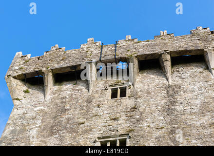 The Blarney Stone from below (centre of picture above top window), Blarney Castle, near Cork, County Cork, Republic - Stock Photo