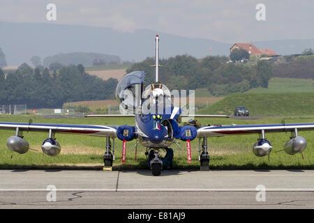 MB-339A/PAN of the Pattuglia Acrobatica Nazionale (National Aerobatic Patrol) Frecce Tricolori. - Stock Photo