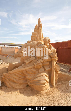 Samurai Warrior from Japan on display at the Sand Sculpture festival in Brighton - Stock Photo