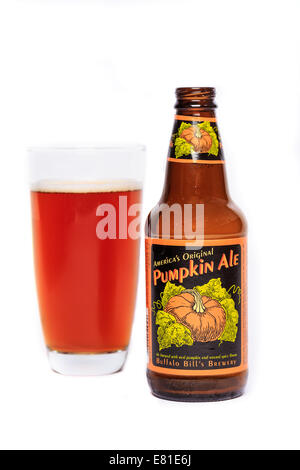 Buffalo Bill's Brewery Pumpkin Ale - Stock Photo