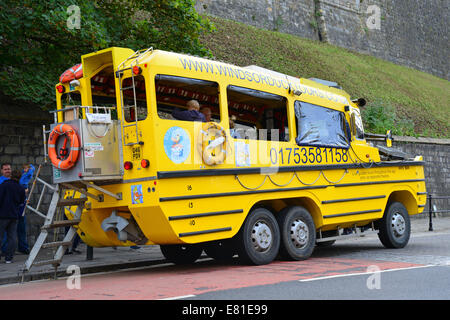 Windsor Amphibious Duck Tours vehicle, High Street, Windsor, Berkshire, England, United Kingdom - Stock Photo