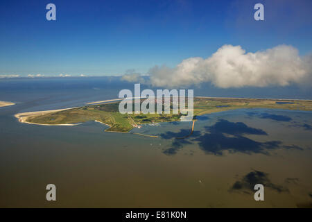 Aerial view, harbour and Flinthörn, Wadden Sea, North Sea, Langeoog, East Frisian Islands, East Frisia, Lower Saxony, - Stock Photo