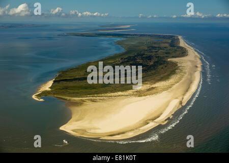 Aerial view, Osterhook, Wadden Sea, North Sea, Langeoog, East Frisian Islands, East Frisia, Lower Saxony, Germany - Stock Photo