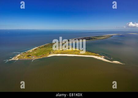 Aerial view, Wadden Sea, North Sea, Wangerooge, East Frisian Islands, East Frisia, Lower Saxony, Germany - Stock Photo