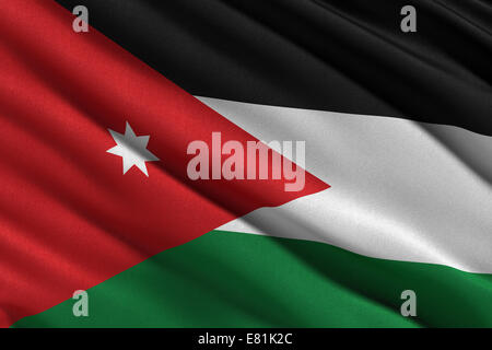 Flag of Jordan waving in the wind - Stock Photo