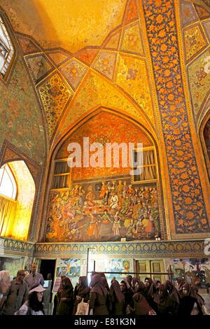 Murals in the main hall, Chehel Sotun Palace, Isfahan, Isfahan Province, Persia, Iran - Stock Photo