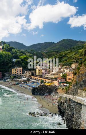 View of the seaside village of Monterosso, Cinque Terre, Liguria, Italy - Stock Photo
