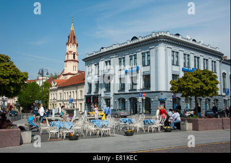 Town Hall square and St. Nicholas Church, Vilnius, Lithuania, Baltic States - Stock Photo